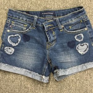 Vigoss girls heart denim shorts